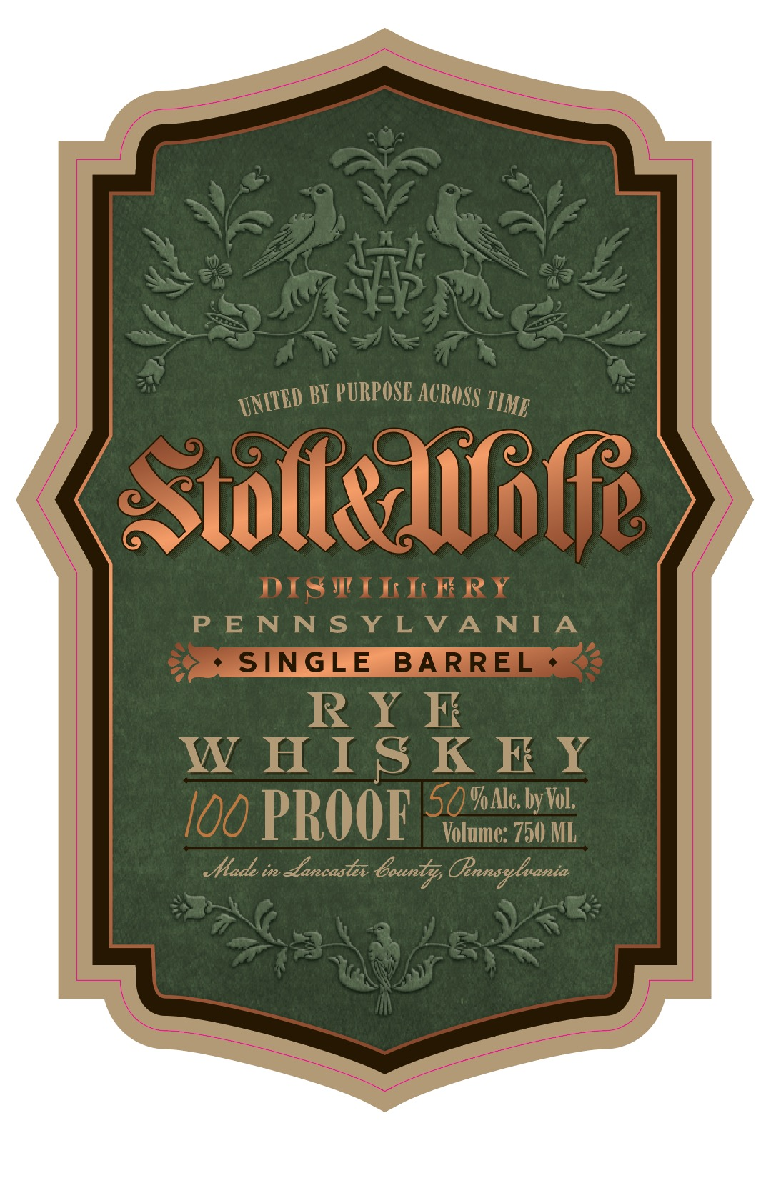 Stoll & Wolfe Single Barrel Pennsylvania Rye Whiskey Label