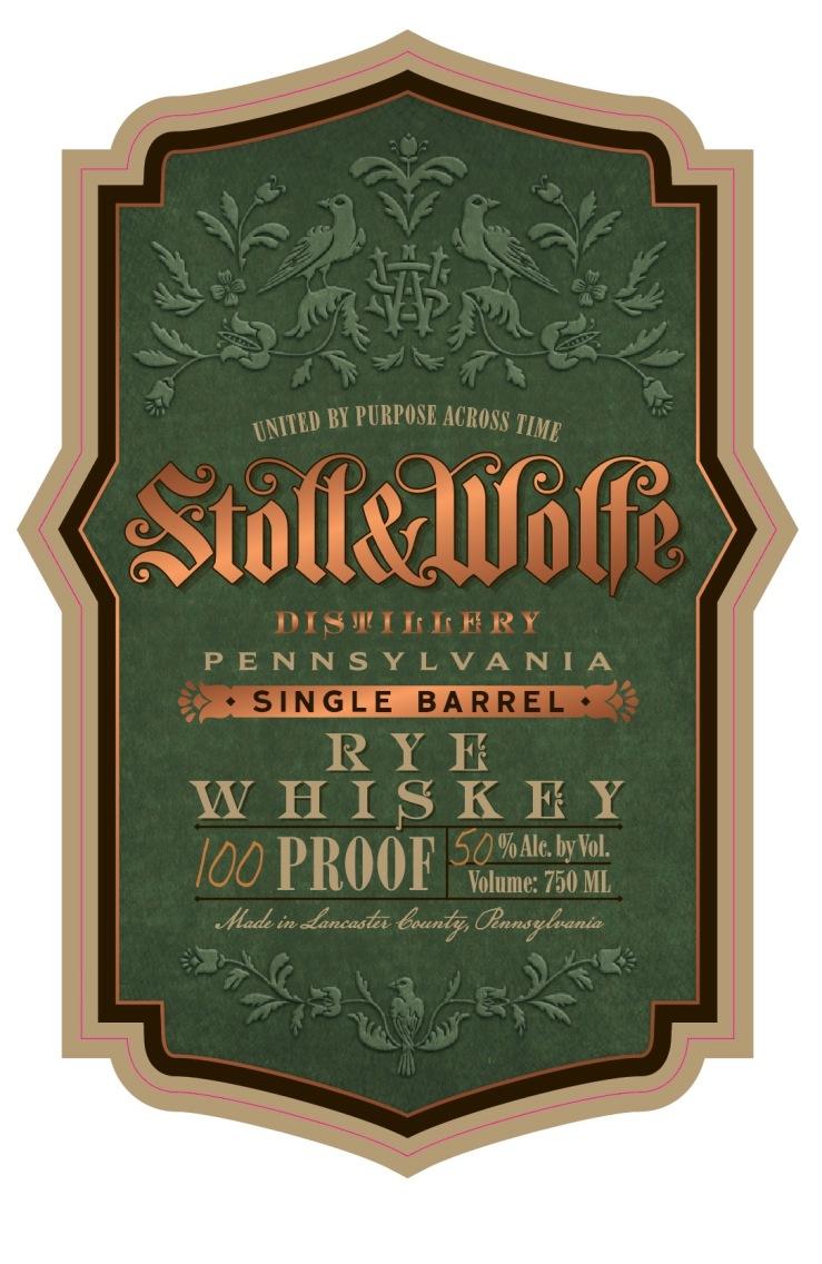 Stoll & Wolfe Single Barrel Pennsylvania Rye Whiskey Label