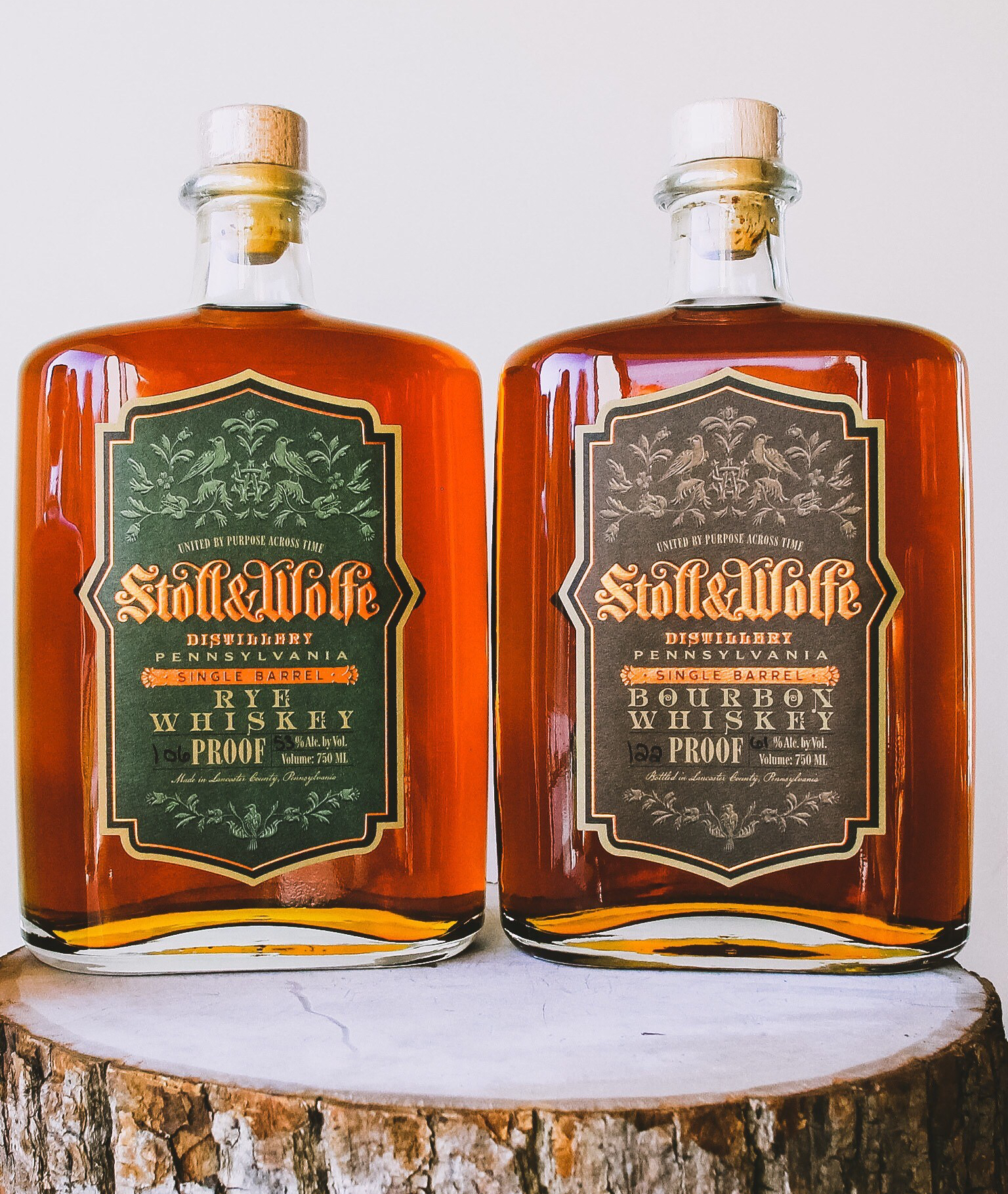 Stoll and Wolfe Cask Strength Rye Whiskey and Stoll and Wolfe Cask Strength Bourbon Whiskey.