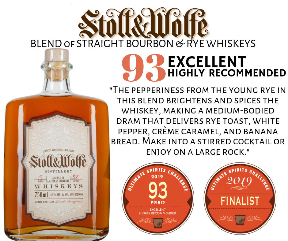 Stoll and Wolfe Bourbon and Rye Blend of Straight Whiskey scores 93 in Ultimate Spirits Competition, Excellent. Highly Recommended.