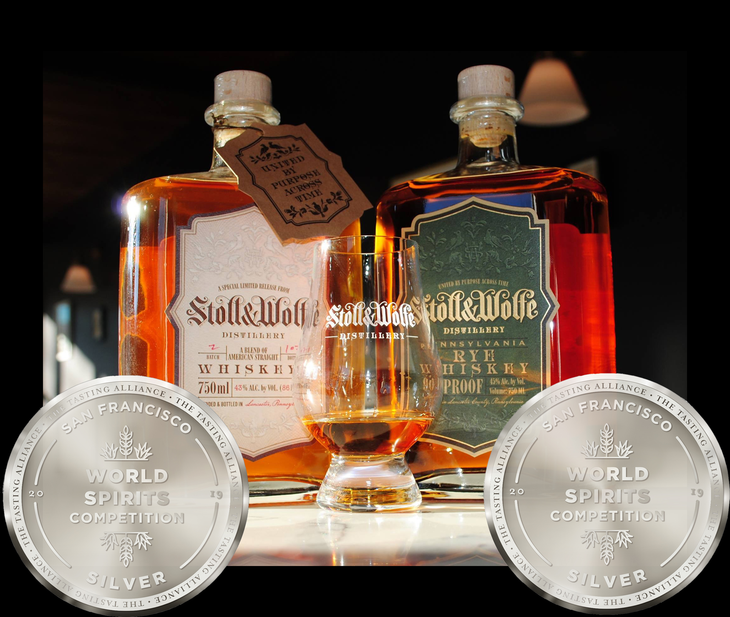 Stoll and Wolfe Bourbon and Rye Blend of Whiskeys and Stoll and Wolfe Pennsylvania Rye Whiskey both Win Silver Medals at the 2019 San Francisco Spirits Competition