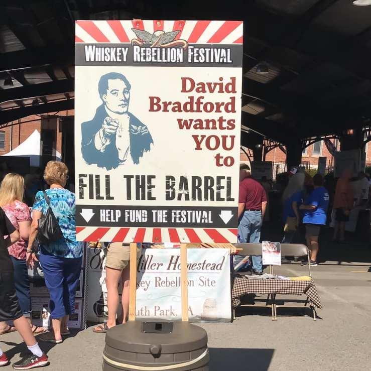 David Bradford House Donation Sign at 2019 Whiskey Rebellion Festival in Washington Pennsylvania.