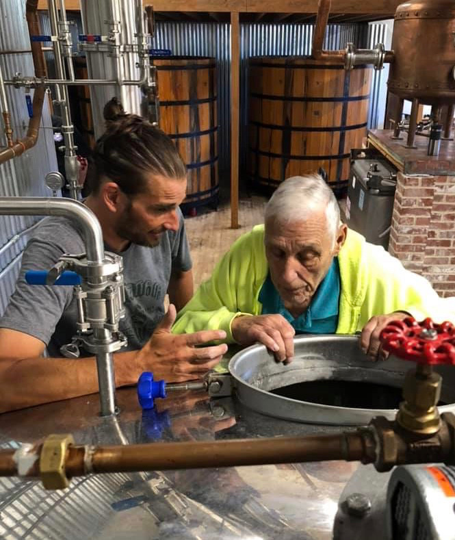 Dick Stoll mashes Rosen Rye Whiskey at Stoll and Wolfe Distillery.