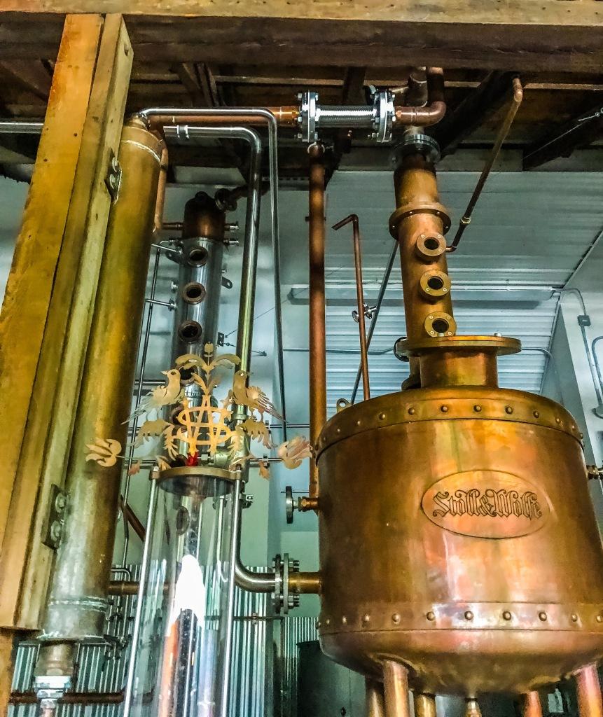 Stoll and Wolfe Distillery column still and thumper in Lititz Pennsylvania.