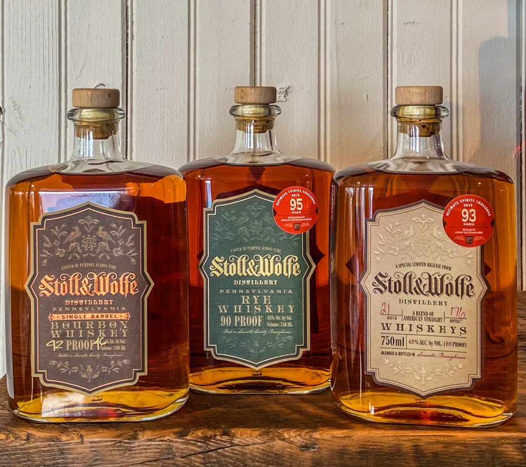 Stoll and Wolfe Distillery Whiskeys including Single Barrel Bourbon, Pennsylvania Rye Whiskey and Bourbon and Rye Blend.
